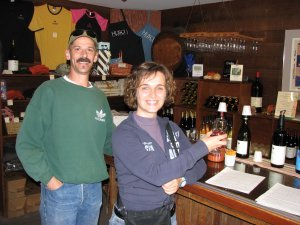 Bob and Patrizia tasting some California vino