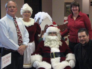 Wells, Trish and Ryan with Mr. and Mrs. Claus
