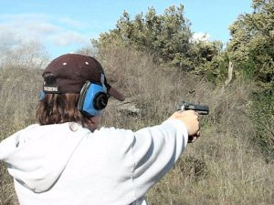 Taking a shot with the Beretta