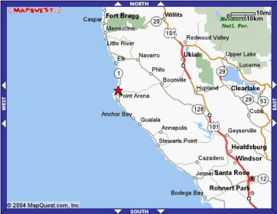 Map of Manchester, Boonville and Healdsburg, CA. Courtesy of www.mapquest.com